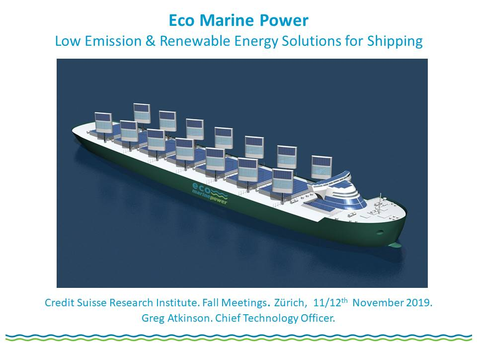 Eco Marine Power Credit Suisse Research Institute Presentation