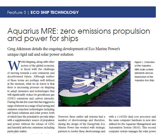 Aquarius MRE - zero emissions for shipping