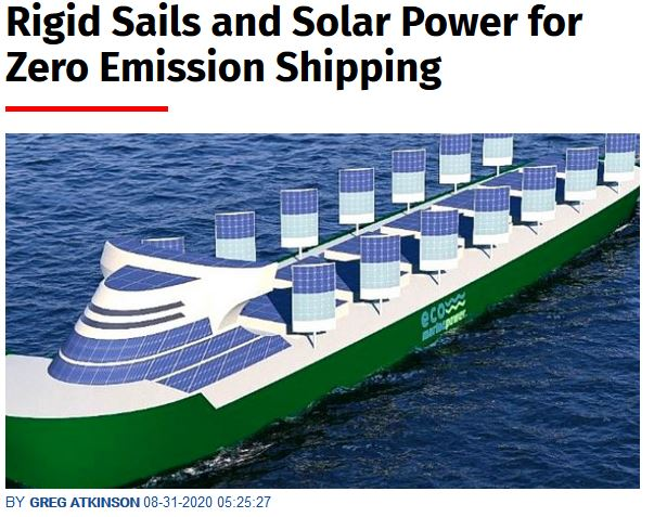 Rigid Sails and Solar Power for Zero Emission Shipping