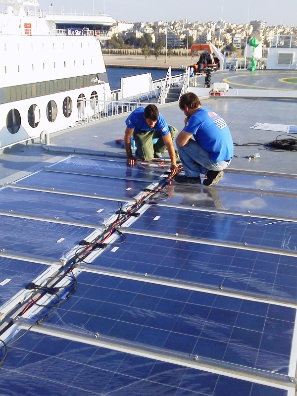 Installation of Solar Power Array on Ship