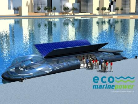 Impression of Tonbo Hybrid Solar Ferry at Pier